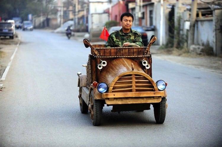 An Electronic Wooden Car Homemade by Carpenter Liu Fulong in China 2014 01