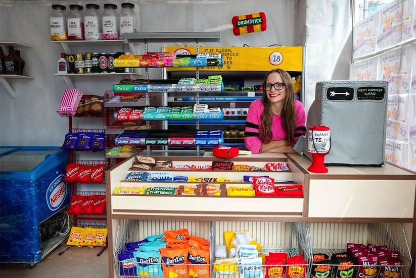 Artist Lucy Sparrow Fills Corner Shop with 4000 Hand Stitched Felt Products 2014 01