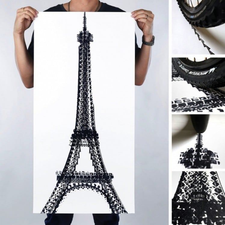 Famous Landmarks Printed with Bicycle Tire Tracks by Artist Thomas Yang 2014 01