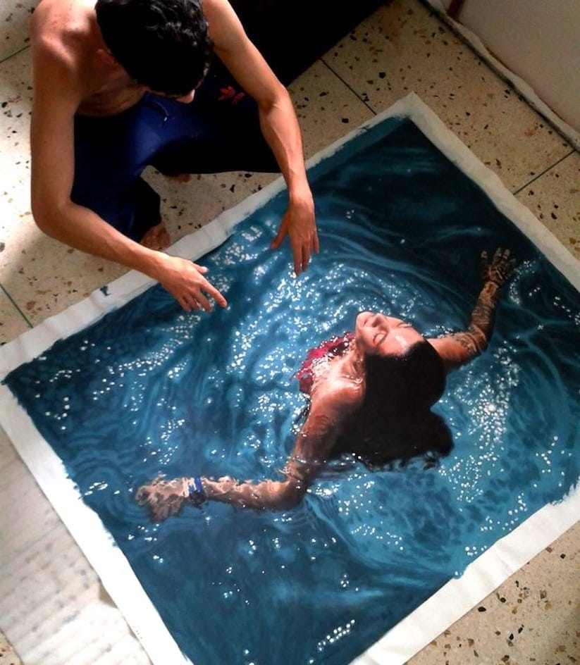 Hyperrealistic Oil Paintings Of People Swimming by Gustavo Silva Nunez 2014 01