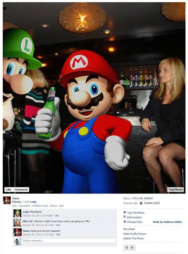 Mario Bros Video Game Character Facebook Profiles