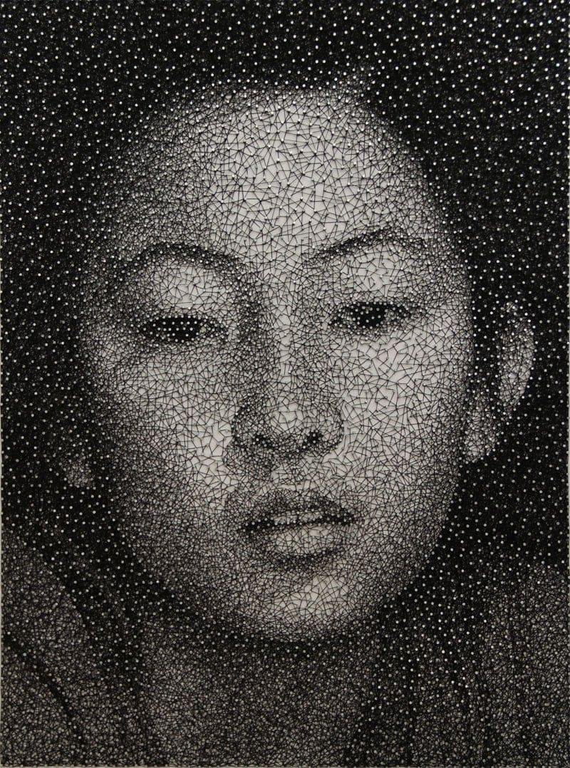 Portraits Made From a Single Thread Wrapped Around Thousands of Nails By Kumi Yamashita Rungmasti.com 01
