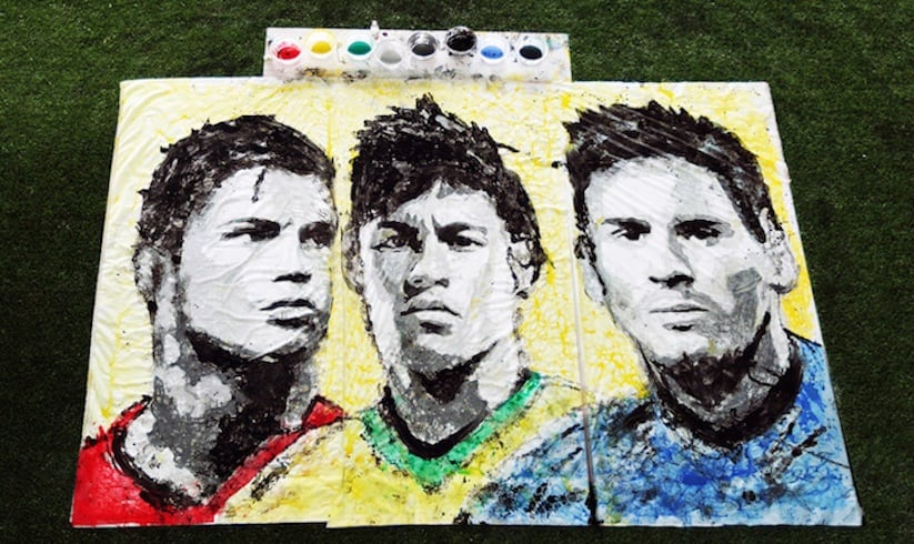 Portraits of World Cup Superstars Painted Only By Feet and Soccer Ball 2014 01