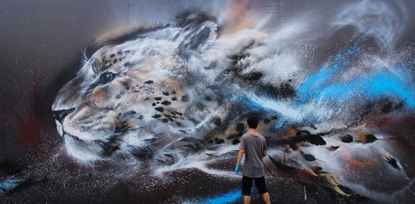 Splatter Ink Cheetah Mural by Hua Tunan 2014 01