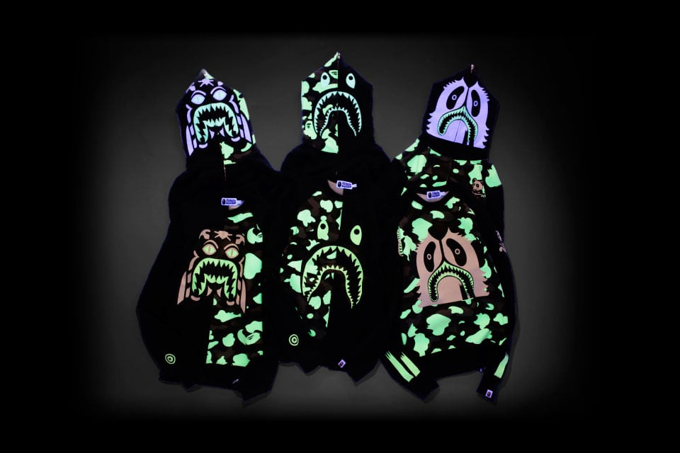 bape zozotown glow dark hoodies 1