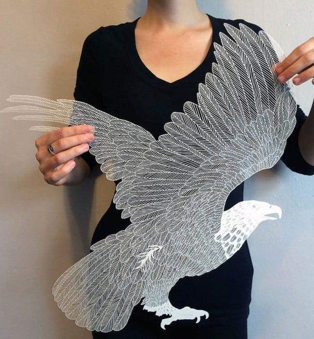 hand cut paper art maude white 01