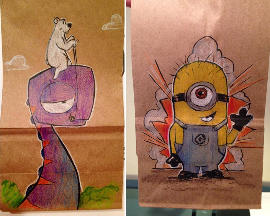 lunch bag dad funny illustrations 16