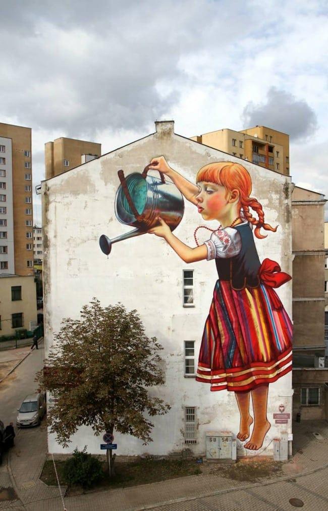 watering street art