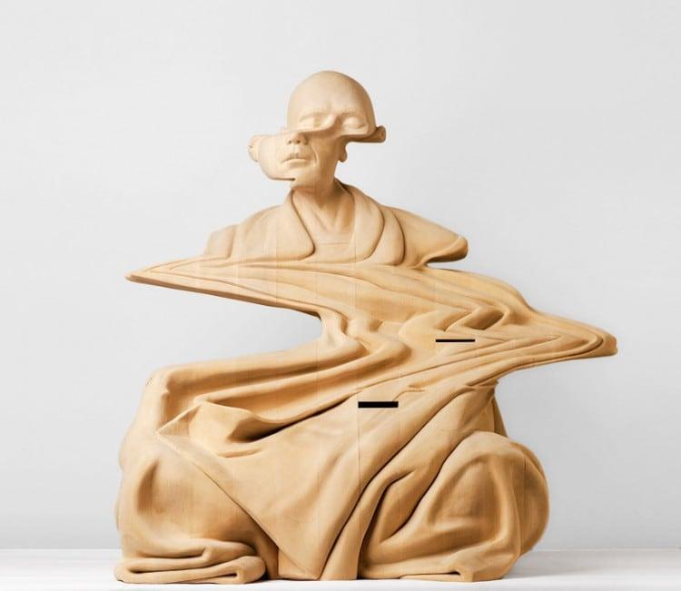 wooden sculptures glitch effect 01