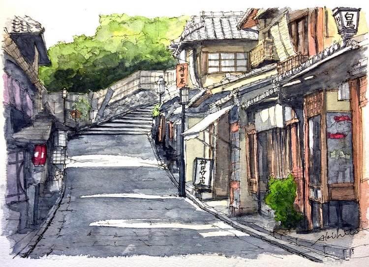 horiaki2 watercolor architecture 9