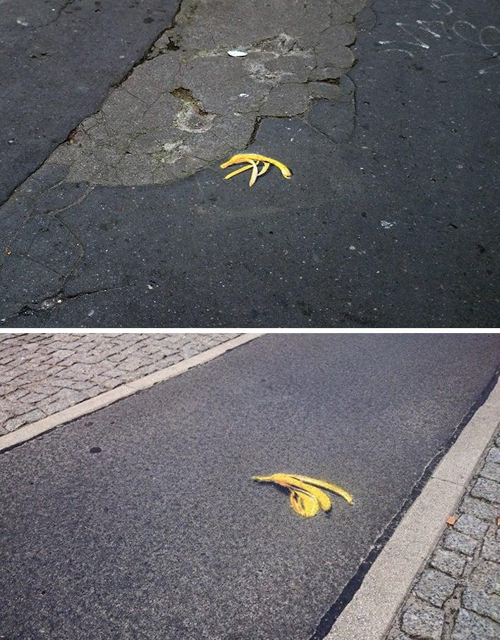 Banana peel Interactive Spray Stencil Street Art Ostap Berlin 2015