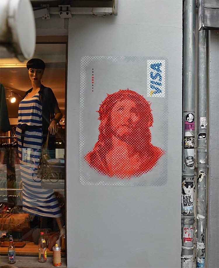 Jesus VISA Spray Street Art Berlin Ostap 2014