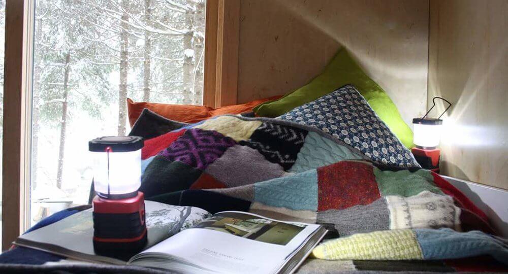 black cozy cabin ontario forest 3