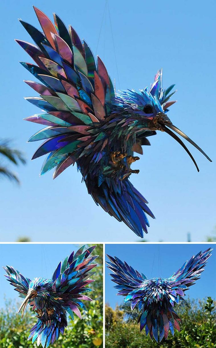 upcycle cd animal sculptures recycled art sean avery 9
