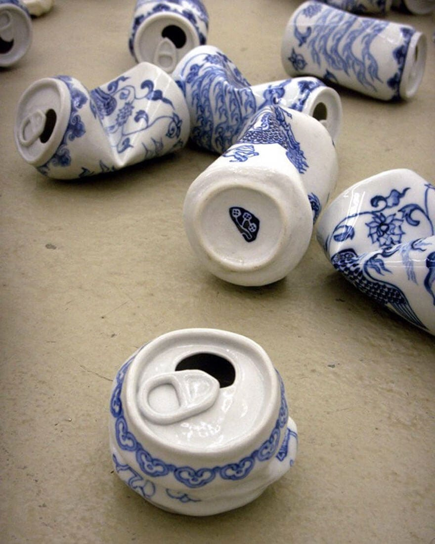 Smashed Soda Cans Made Of Ming Dynasty-Style Porcelain By Chinese