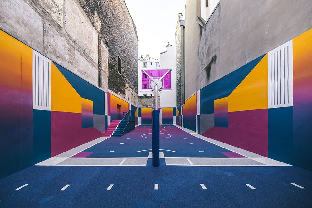 a technicolor basketball court emerges in paris fy 1