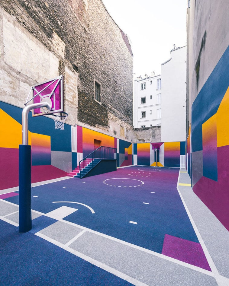 a technicolor basketball court emerges in paris fy 3