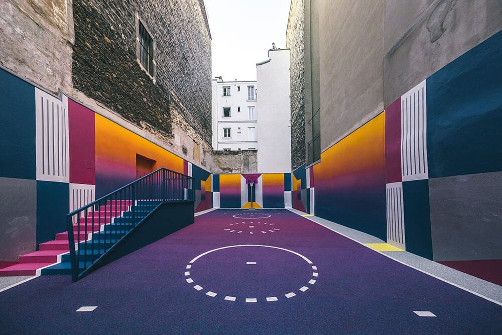 a technicolor basketball court emerges in paris fy 5