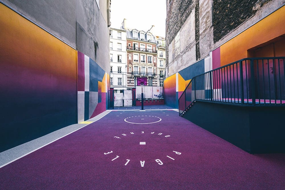 a technicolor basketball court emerges in paris fy 6