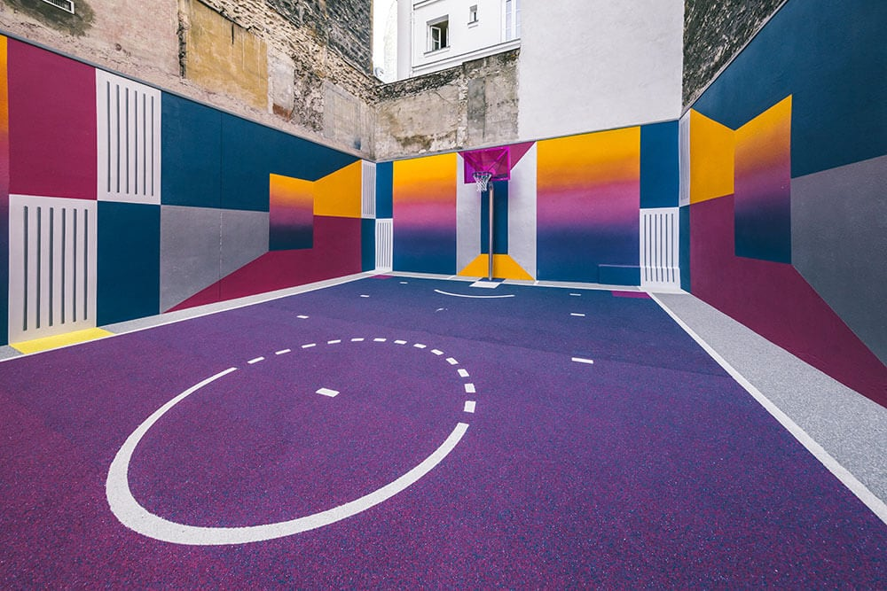 a technicolor basketball court emerges in paris fy 7
