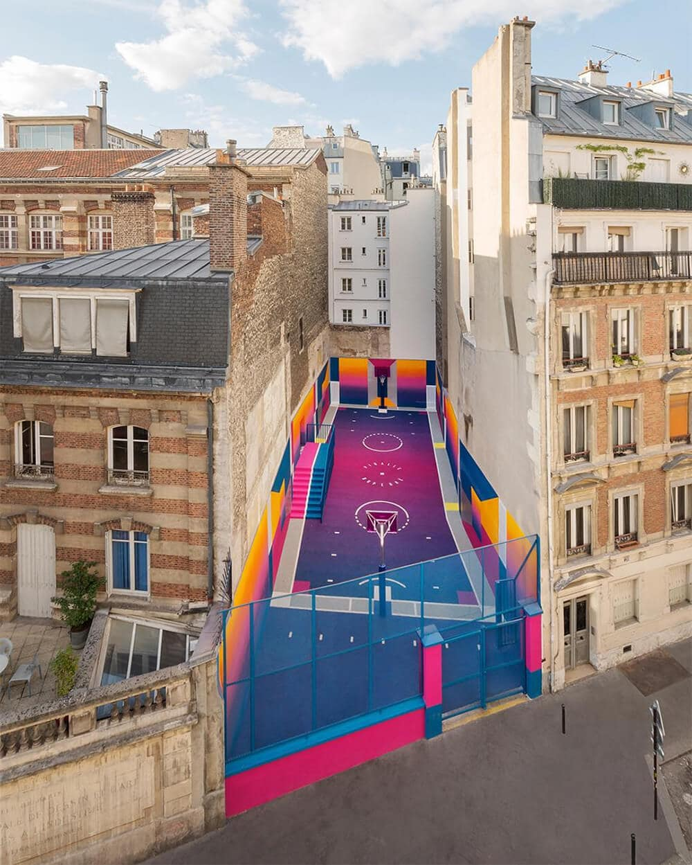 a technicolor basketball court emerges in paris fy 9