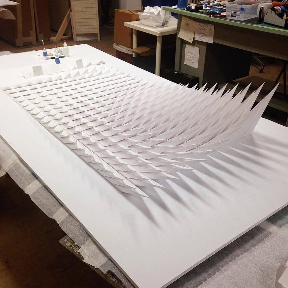 geometric paper sculptures matthew shlian fy 9