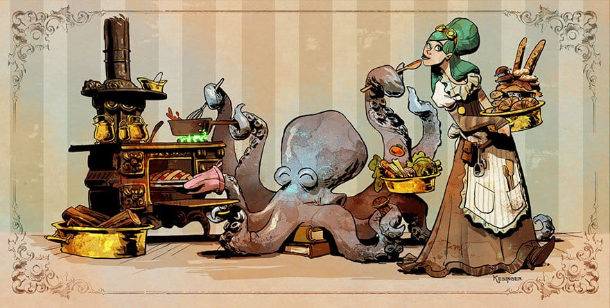 octopus otto and victoria steampunk illustrations walt disney brian kesinger fy 10