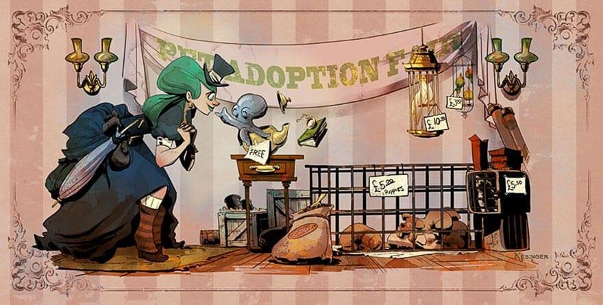 octopus otto and victoria steampunk illustrations walt disney brian kesinger fy 11