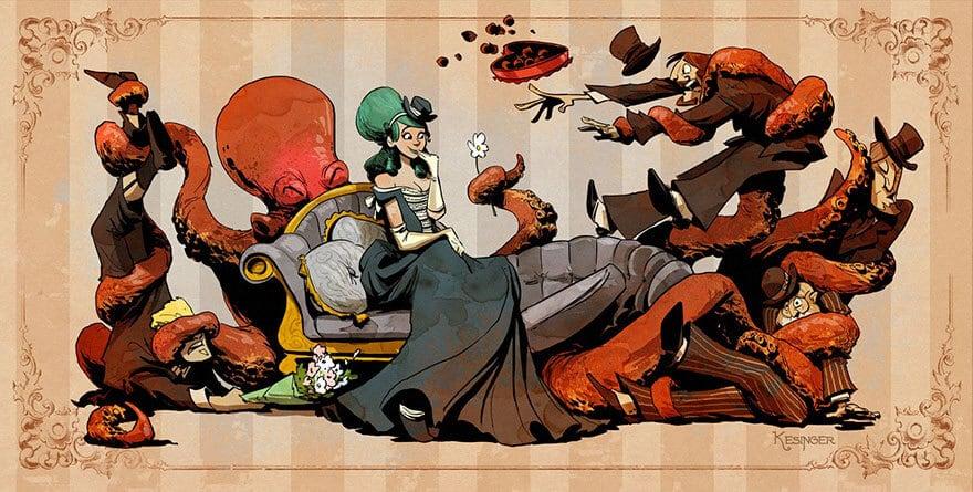 octopus otto and victoria steampunk illustrations walt disney brian kesinger fy 12