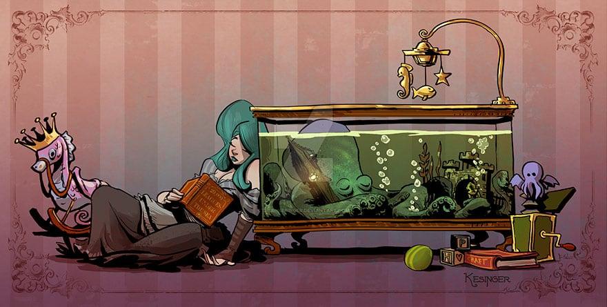 octopus otto and victoria steampunk illustrations walt disney brian kesinger fy 13