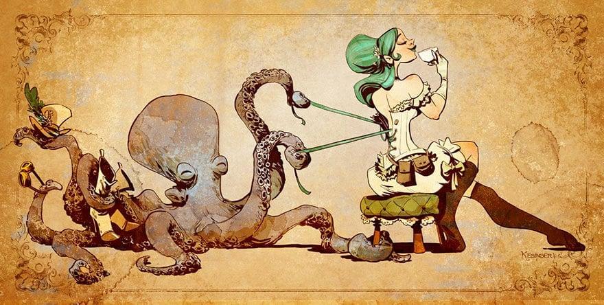 octopus otto and victoria steampunk illustrations walt disney brian kesinger fy 14