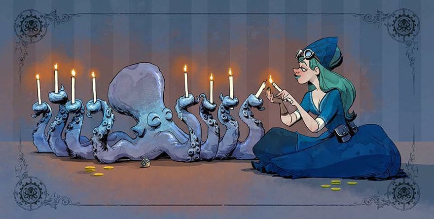 octopus otto and victoria steampunk illustrations walt disney brian kesinger fy 15