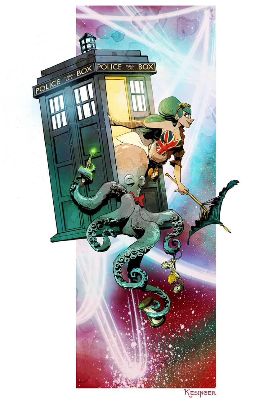 octopus otto and victoria steampunk illustrations walt disney brian kesinger fy 16