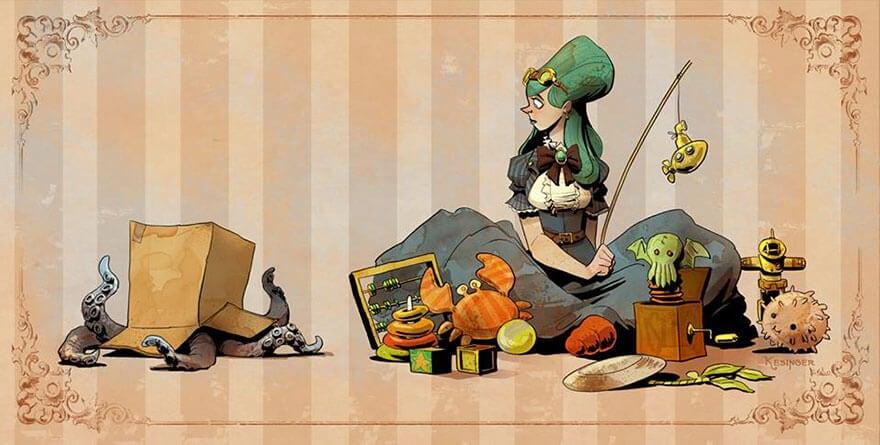 octopus otto and victoria steampunk illustrations walt disney brian kesinger fy 18