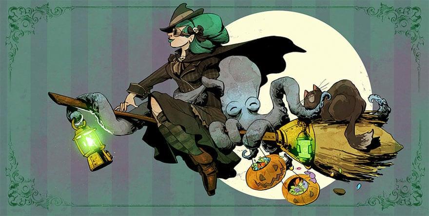 octopus otto and victoria steampunk illustrations walt disney brian kesinger fy 19