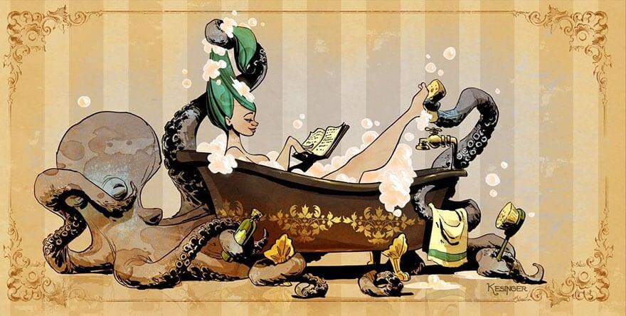 octopus otto and victoria steampunk illustrations walt disney brian kesinger fy 2