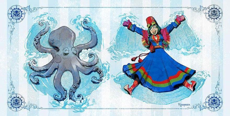octopus otto and victoria steampunk illustrations walt disney brian kesinger fy 3