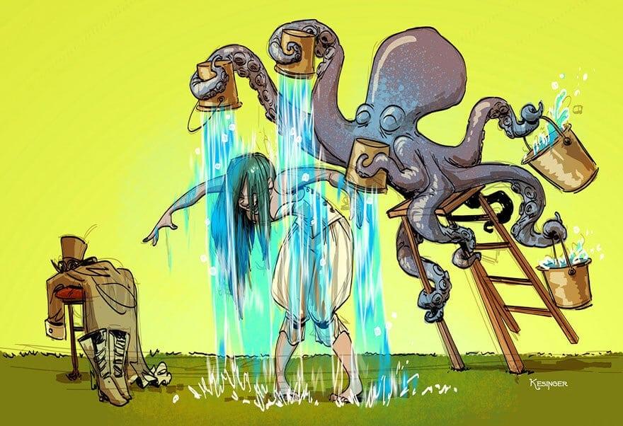 octopus otto and victoria steampunk illustrations walt disney brian kesinger fy 4