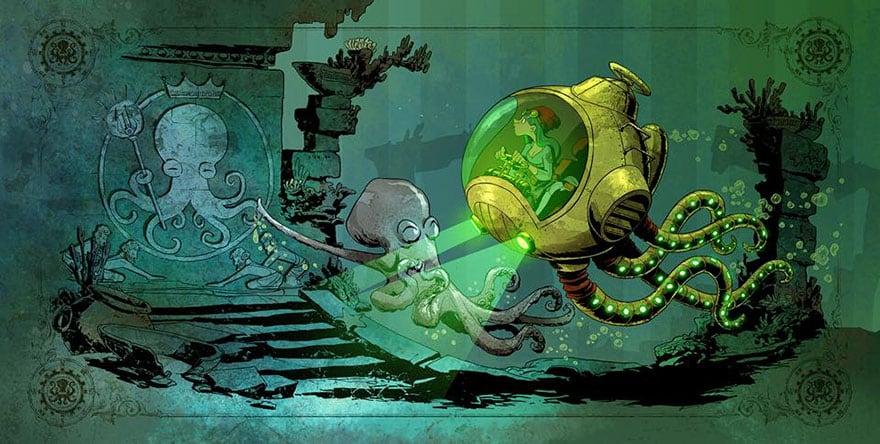 octopus otto and victoria steampunk illustrations walt disney brian kesinger fy 5