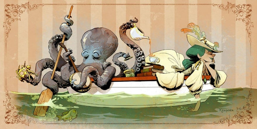 octopus otto and victoria steampunk illustrations walt disney brian kesinger fy 7