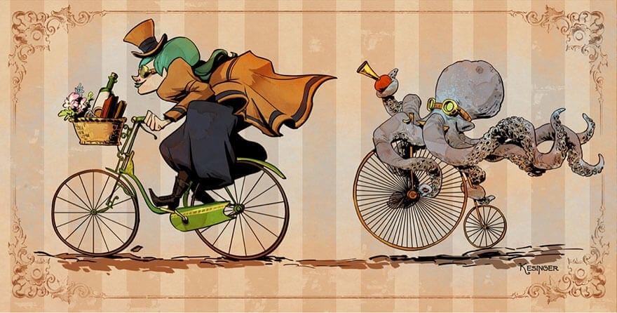 octopus otto and victoria steampunk illustrations walt disney brian kesinger fy 8