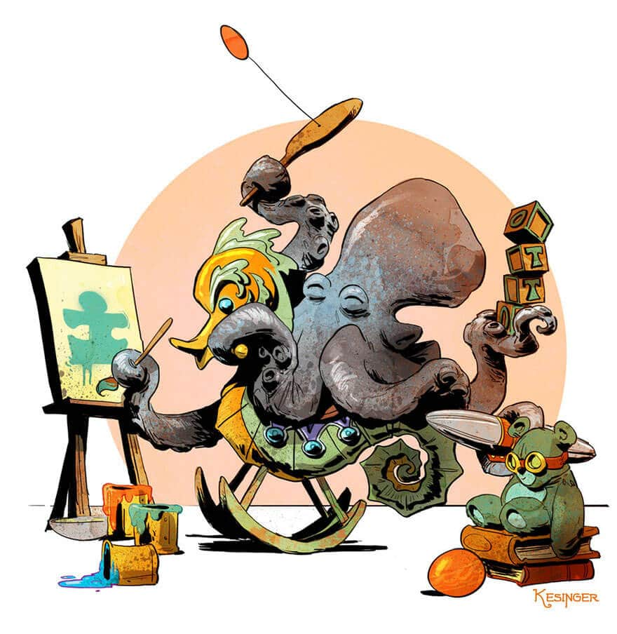 octopus otto and victoria steampunk illustrations walt disney brian kesinger fy 9