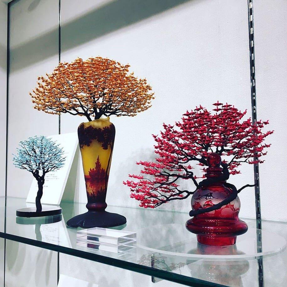 origami cranes bonsai trees naoki onogawa 2