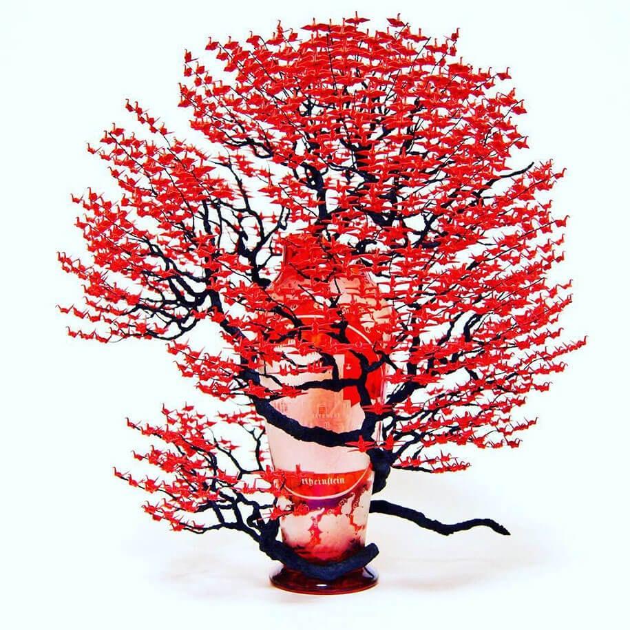 origami cranes bonsai trees naoki onogawa 4