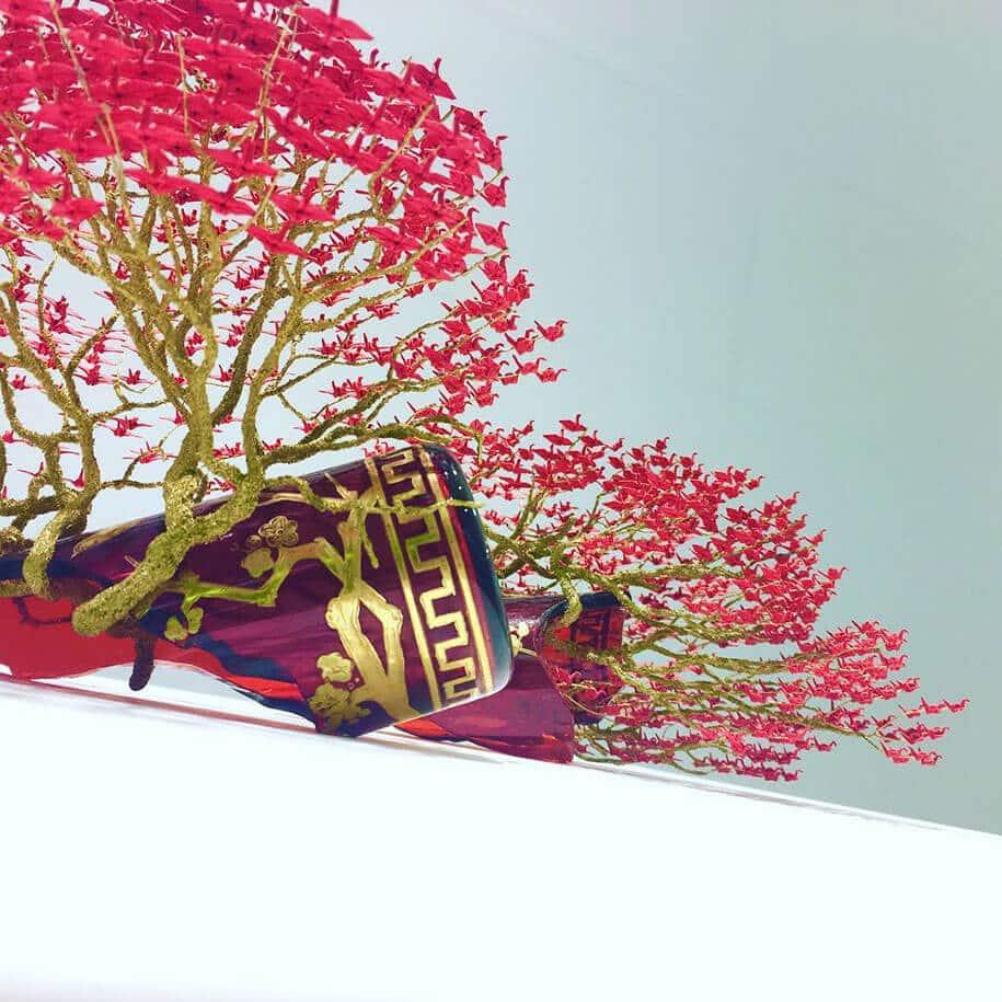 origami cranes bonsai trees naoki onogawa 5