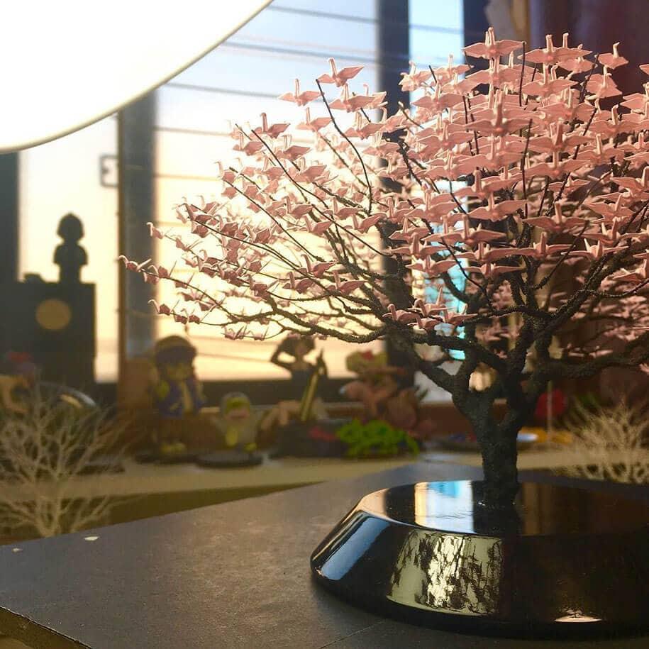 origami cranes bonsai trees naoki onogawa 9