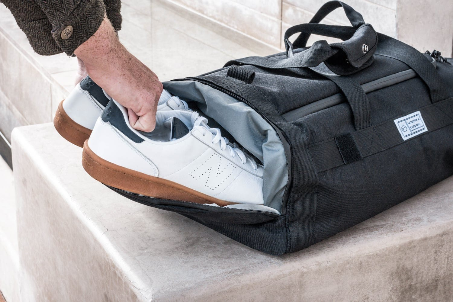 Commuter Duffle Pack Shoe Compartment In Use