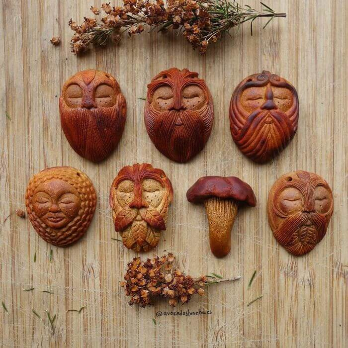 carved totems avocado stone faces jan campbell fy 8