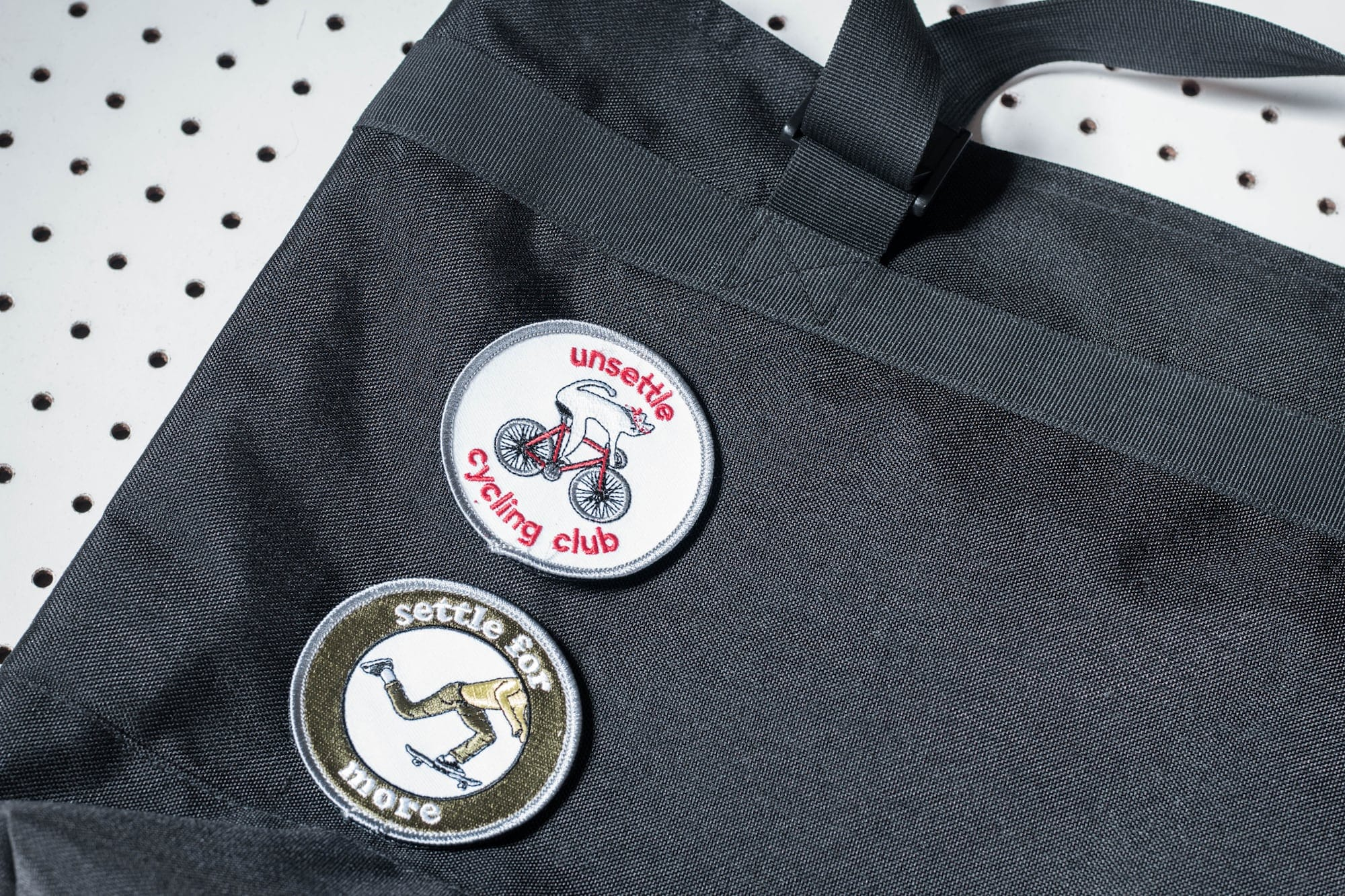commuter tote bag attachable embroidery patches
