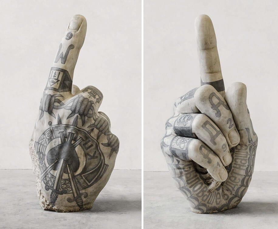 italian artist gives classical sculptures criminal tattoos fy 4